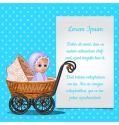 Baby in wicker stroller and postcard for your text vector