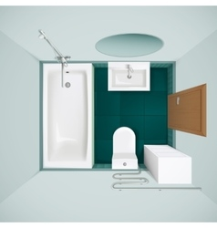 Bathroom interior top view realistic image vector