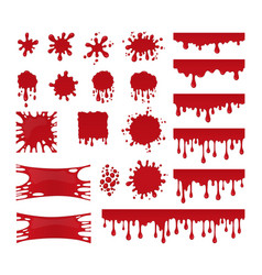 blood drops and stains set of red splatter vector image vector image