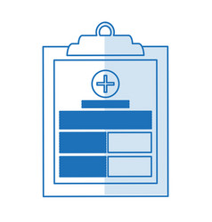 Blue silhouette shading table notepad medical with vector