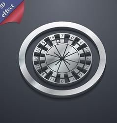 Casino roulette wheel icon symbol 3d style trendy vector