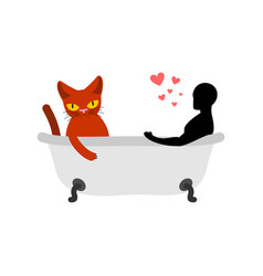 Cat lover in bath my kitty passion feelings among vector