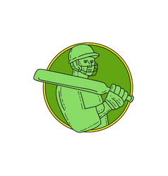 Cricket player batsman circle mono line vector