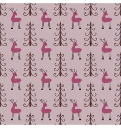 Deer forest seamless pattern vector image
