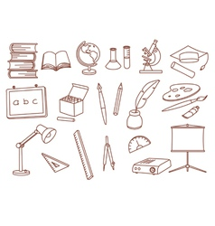 education related doodle icons vector image