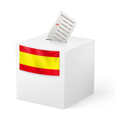 Election in spain ballot box with voicing paper vector