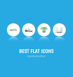 Flat icon clothes set of beach sandal brasserie vector