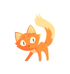 Funny curious red kitten cute cartoon animal vector