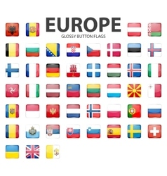 Glossy button flags - europe original colors vector