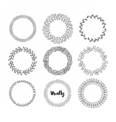 Hand drawn hipster wreath set vector