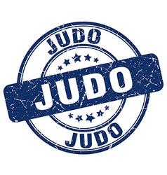 Judo blue grunge round vintage rubber stamp vector