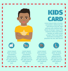 kids card template with black kid vector image vector image