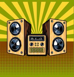 Loudspeaker enclosure comic book style vector