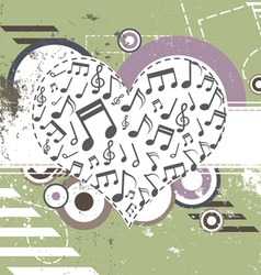 music heart on retro background vector image