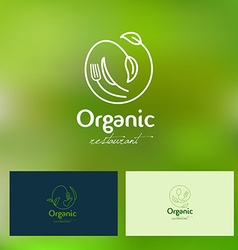 Organic vegan restaurant logo vector