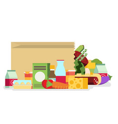 Paper bag package with food and drink products vector
