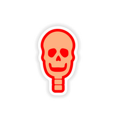 Paper sticker on white background human skull vector