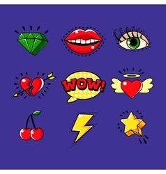 Pop art classic bright design elements for vector