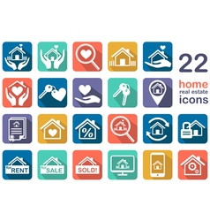 real estate home icon set vector image vector image