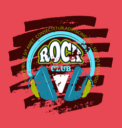 Rock music club music badge emblem with vector