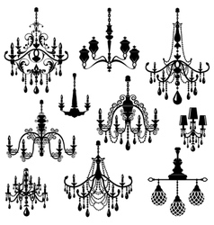 Set of Decorative elegant luxury vintage crystal vector image