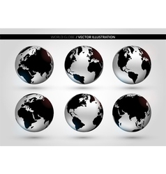 Set with metallic world globe vector image vector image