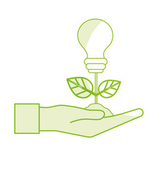 Silhouette hand with energy bulb plant with leaves vector