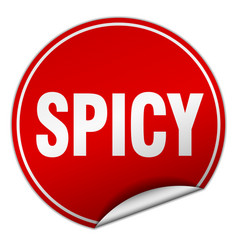 Spicy round red sticker isolated on white vector