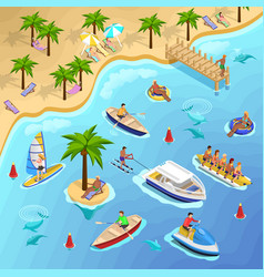tropical beach boating background vector image vector image