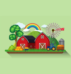 Two red barns and windmill in the farm vector