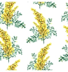 Watercolor wormwood herb seamless pattern vector