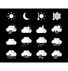Weather icons in black and white vector
