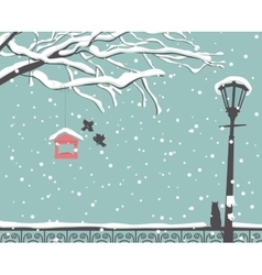 Winter scene at the park vector