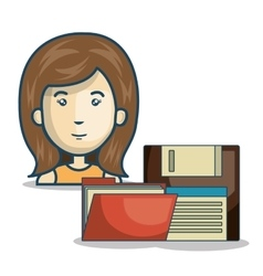 Woman and document folder vector