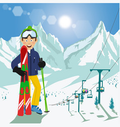 young man with skis and poles in mountains vector image vector image