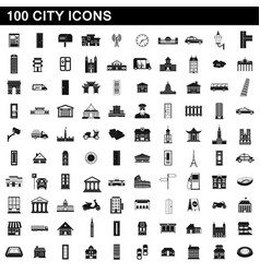 100 city icons set simple style vector image vector image