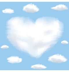 Heart sky with clouds vector