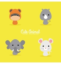 Cute cartoon wild animals vector