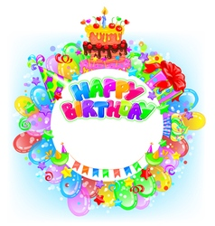 Birthday round bright banner with place for text vector image