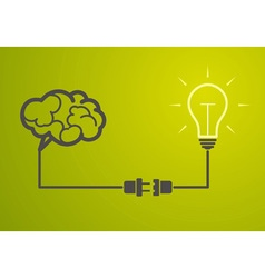 Idea concept - light bulb connect to the brain vector