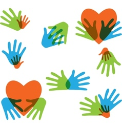 Hands and Love abstract icons collection isolated vector image
