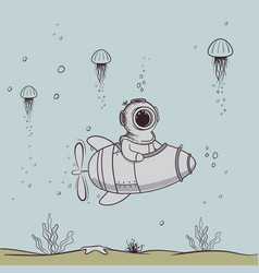 funny diver floats on submarine in the deep sea vector image