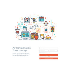 Air transportation travel concept vector