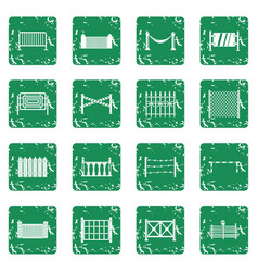 Fencing icons set grunge vector