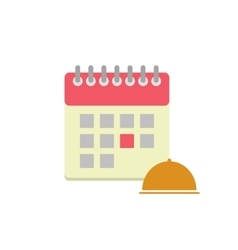 Flat style calendar icon with cloche vector