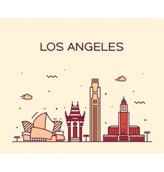 Los angeles skyline linear vector