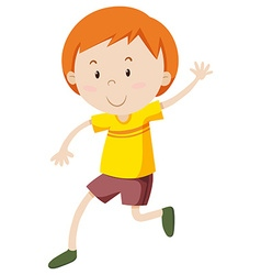 Little boy in yellow shirt vector