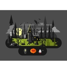 Halloween house at night vector