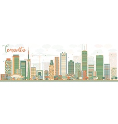 Abstract toronto skyline with color buildings vector