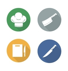 Chef tools flat design icons set vector